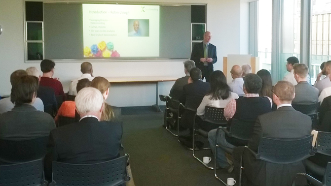 Robin presenting at our fist data event in London